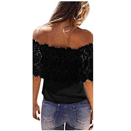 a2cccf8dc5f1d Hmlai Women Sexy Off Shoulder Tops Summer Casual Chiffon Blouse Shirt with  Floral Lace Crochet Trim