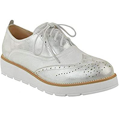 072588e58c82 Womens Ladies Flat Loafers Creepers Chunky Sole Lace Up Smart School Shoes  Size UK