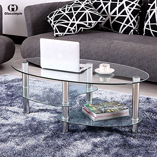 Tempered Clear Glass Oval Frame Chrome Legs Console Food Bar Armchair Side Coffee Table 3-Layer 2 Fishtail Style Bar Open Organizer 35.43 x 19.69 x 17.72 Inch Living Room