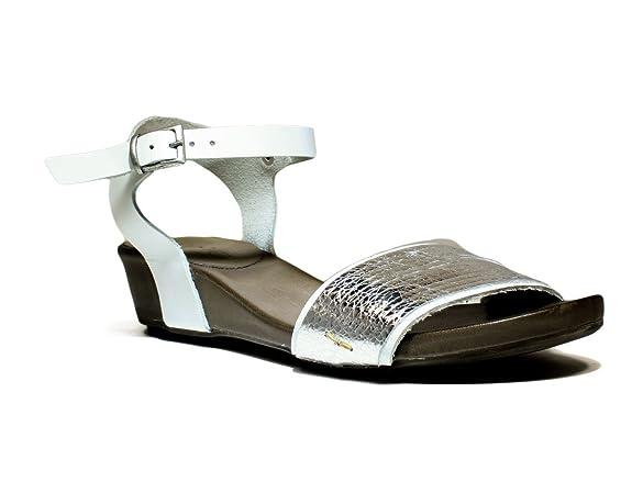 Bueno Shoes Sense A529 Scarpe Donna Sandalo Con Tacco, Tacco Basso, Primavera Estate Nuova Collezione 2016 Pelle Argento
