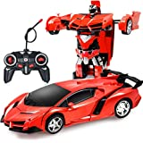 ZeroPlusOne® RC Car for Kids, 1:18 Transform Car Robot, 2.4GHz Rechargeable 360°Rotating Drifting Realistic Engine…