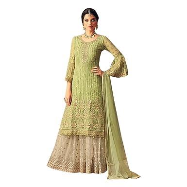 c808b0879a Amazon.com: Hit Designs Bridal Wedding Muslim Heavy Embroidery Net Sharara  suit Women Indian Ethnic 7254: Clothing