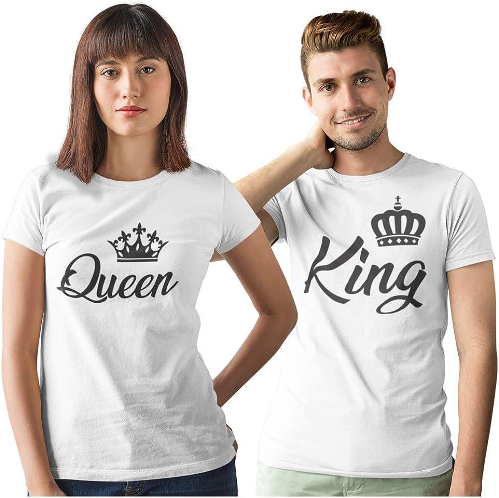 Pack de 2 Camisetas Blancas para Parejas King y Queen Corona Negra ...