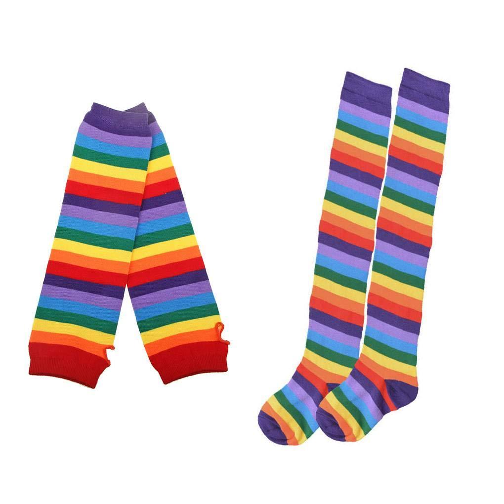 Forbestest 2 Imposta ragazza delle donne arcobaleno colorato a strisce guanti lunghi calzini del braccio dello scaldino senza dita in maglia Guanti Sockings
