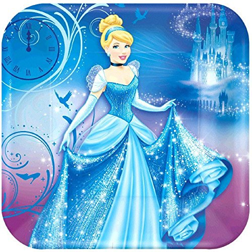 American Greetings Cinderella Square Plate Party Supplies (8 Count), 9