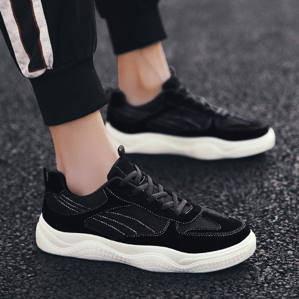 Mens Sneakers Breathable Mesh Lace-Up Solid Leisure Outside Sport Running Board Shoes
