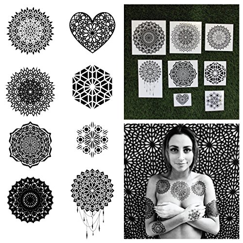 Tattify Assorted Mandala Temporary Tattoos - Ascension (Complete Set of 16 Tattoos - 2 of each Style) - Individual Styles Available and Fashionable Temporary Tattoos