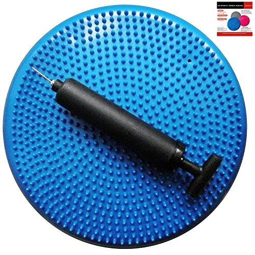 AppleRound Air Stability Wobble Cushion, Blue, 35cm/14in Diameter, Balance Disc, Pump Included by AppleRound