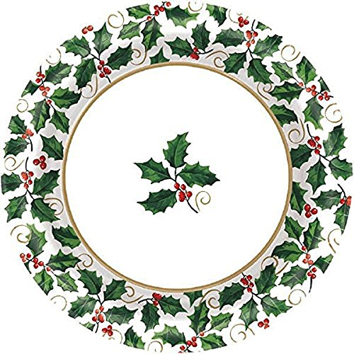 "Small Seasonal Holly Paper Plates Christmas Party Disposable Party Value Tableware (40 Pieces), Green, 6 3/4""."