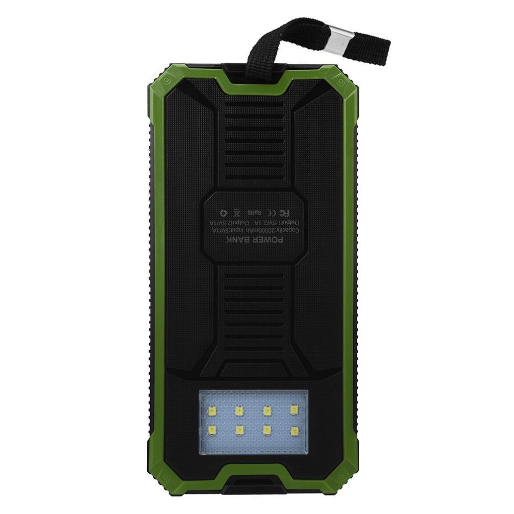DZT1968 Waterproof 20000mAh Portable Solar Charger Dual USB Battery Power Bank F Phone 1607317mm (Green) by DZT1968