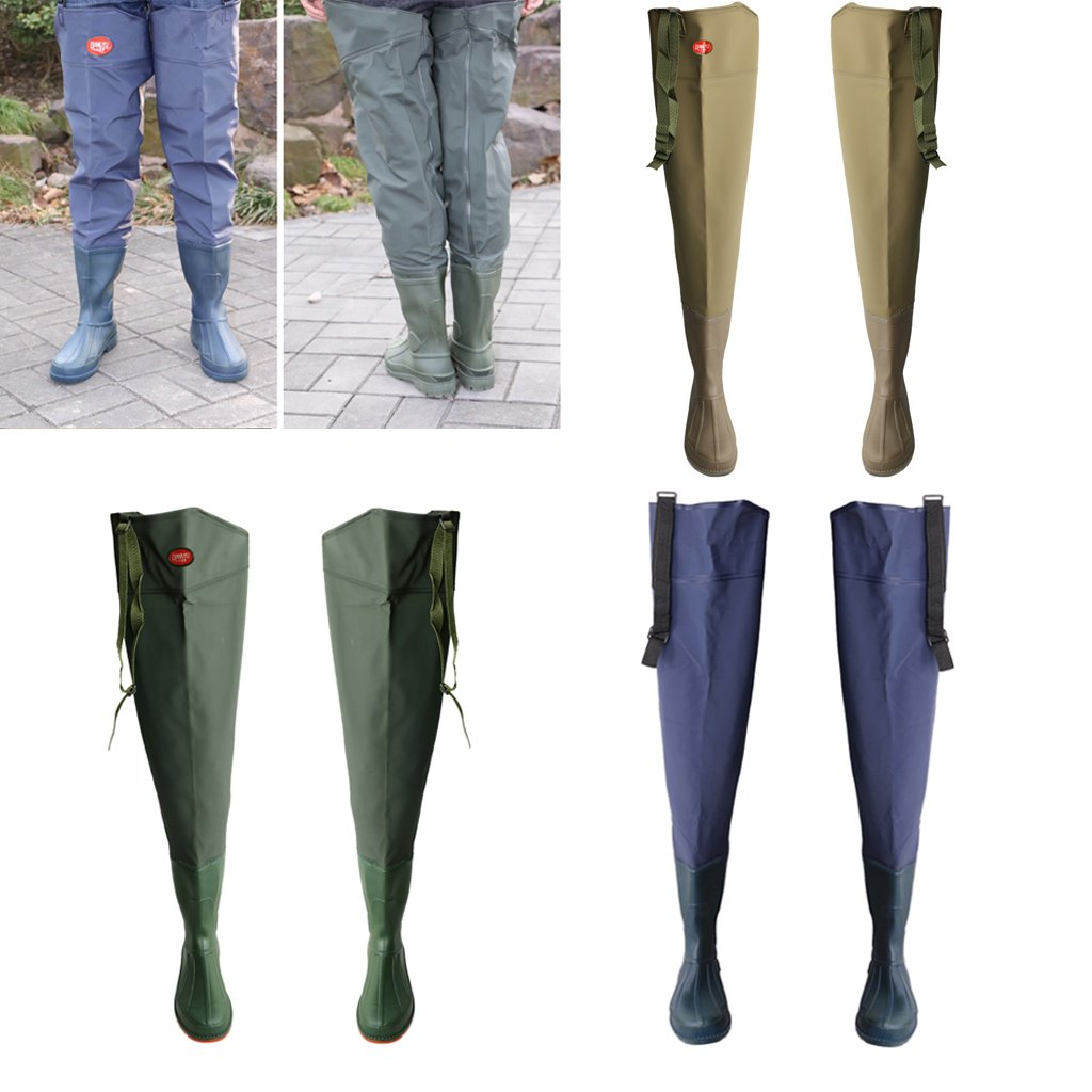1a857a72c90 Amazon.com   Homyl Waterproof Wading Boots Over Knee Hip Waders Thick Leg  Wear Rain Boots Pants River Bootfoot   Sports   Outdoors