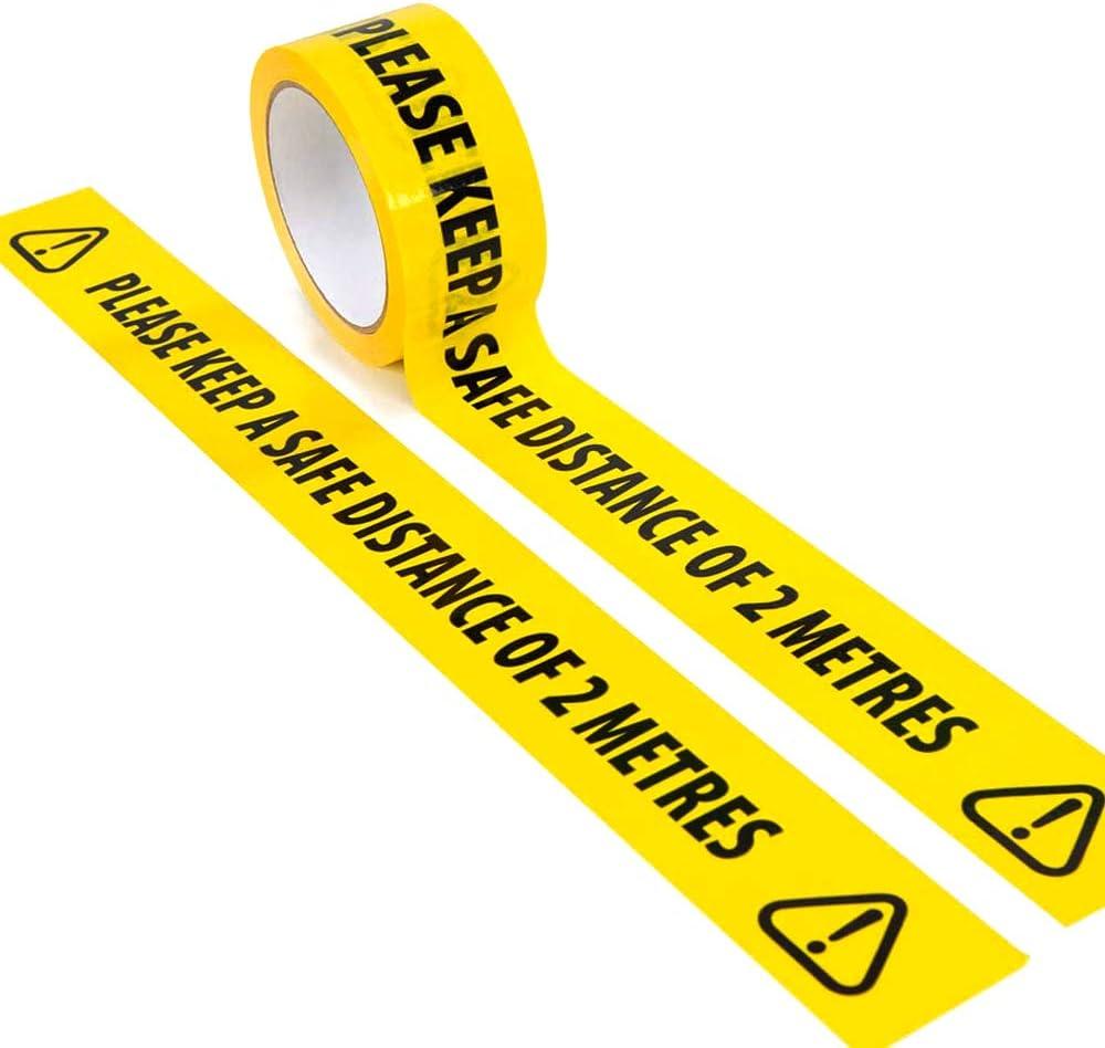 2 cintas de seguridad negras y amarillas de 2 metros de distancia social para suelos cinta de advertencia de seguridad de 33 x 48 mm