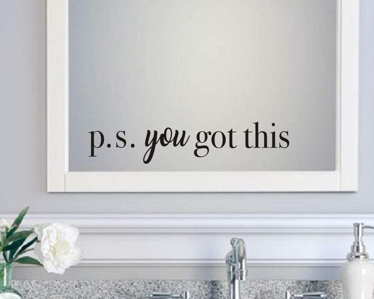 You Got This Wall Decal,Inspirational Quote Positive Attitude Vinyl Wall Sticker for Office Bathroom Mirror Bedroom Decor, Motivational Family Lettering Stickers Decorations, Black