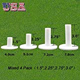 """Golf Mat Rubber Tees Driving Range Tee Holder Black White Value 4 Pack,1.5"""" 2.25"""" 2.75"""" 3.0"""" Mixed Size Set Long Short for Indoor Ourdoor Practice"""