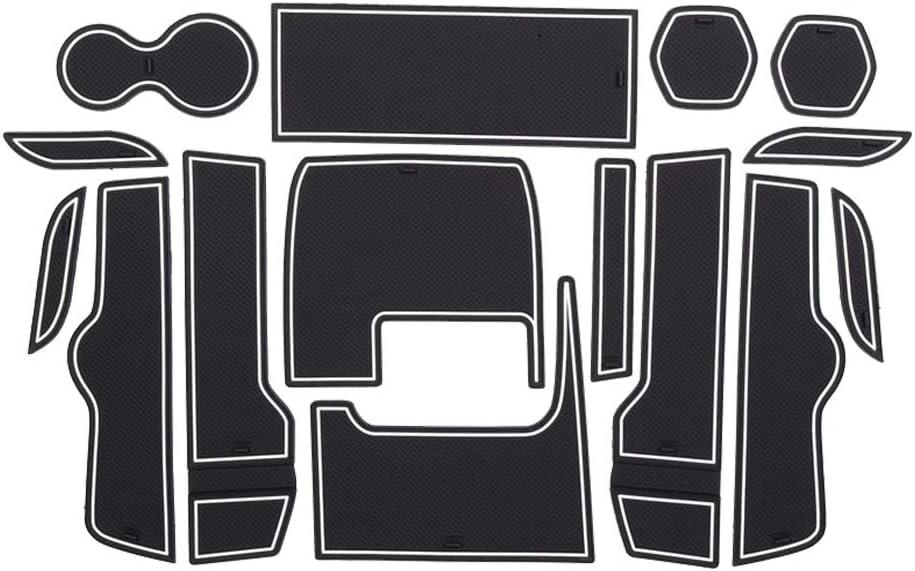 LFOTPP Non-Slip Rubber Mats for Civic FK4 FK7 FC1 FC2 FC5 Car Gate Slot Pad Mat Cup Holder Armrest Center Consoles Interior Decoration 15pcs White