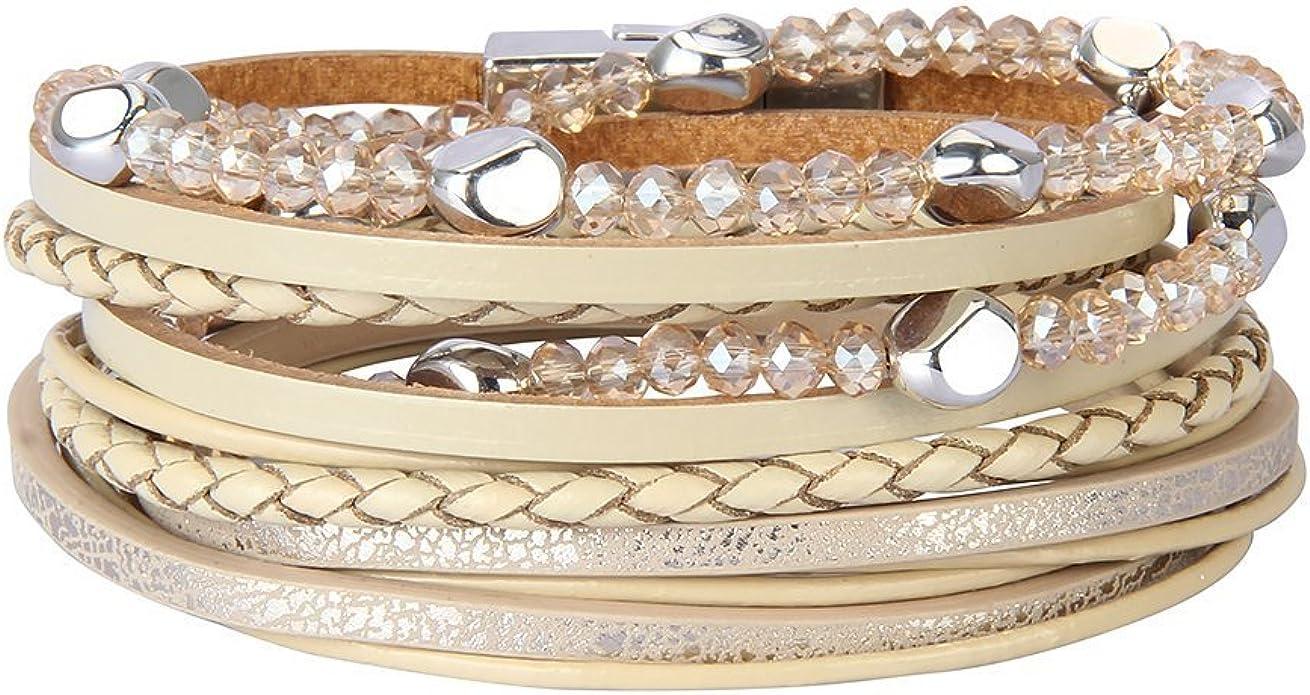 beads glass boho blue bracelet gift idea for woman bracelet charms Women bracelet chic while gold stainless steel