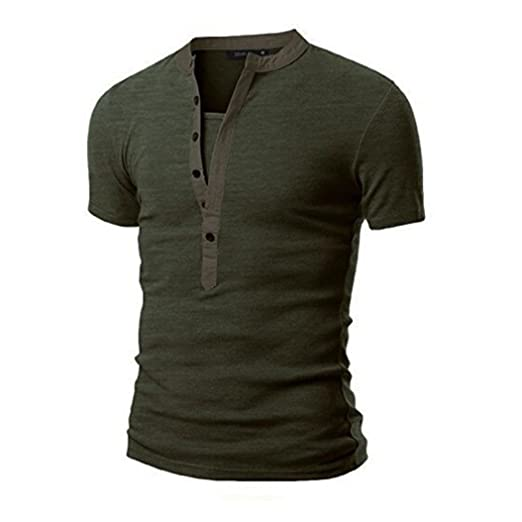 1fba2b95 WM & MW Personality Men's Summer Casual Solid Patchwork V-Neck Short Sleeve  Henley Shirt