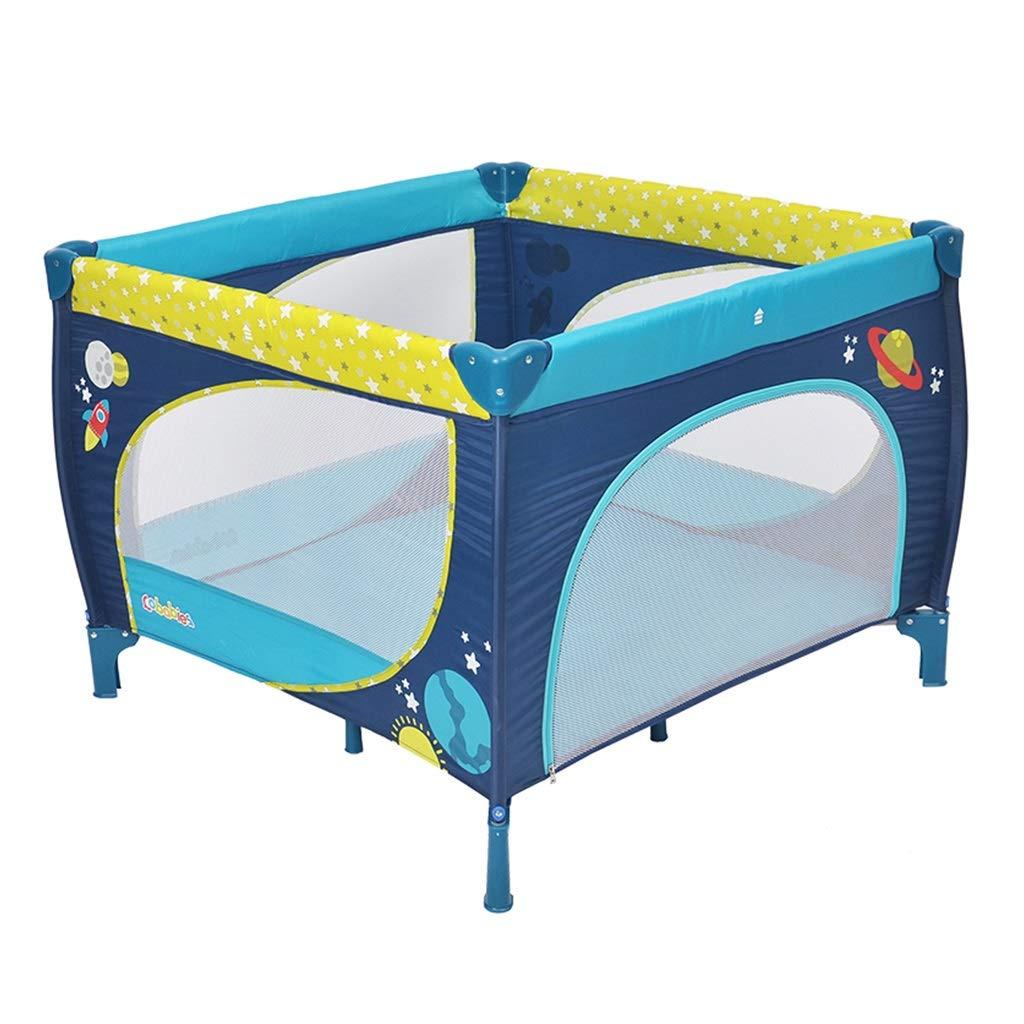 折りたたみ式ベビーベッド多機能ゲームベッド子供プレイフェンスポータブルゲームベビーサークル屋内プレイグラウンド体重65kg (Color : Blue, Size : 100x100x76cm) 100x100x76cm Blue B07MNDX38Z