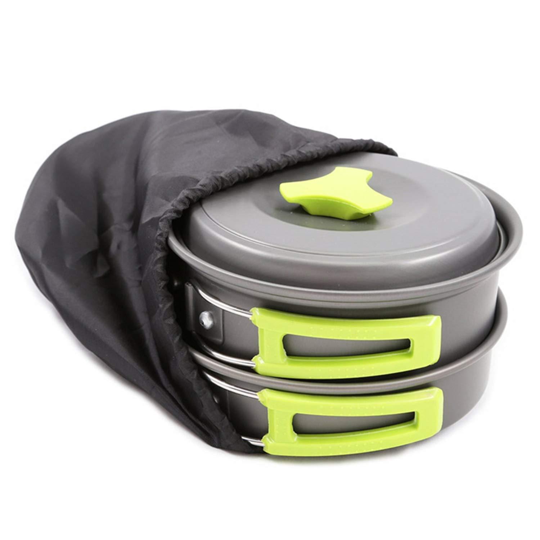SAVORLIVING キャンプ 調理器具 汚れ防止キット - ノンスティック アウトドアバッグ 調理器具 コンパクト 耐久性 バックパッキング ギア 鍋 フライパン ボウル   B07QC51HSB