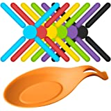 6 Pack Non-slip Foldable Silicone Trivets, SourceTon Collapsible Cross Design Silicone Trivets in Cute Colors, Silicone Pot Holder, Hot Pad, Pot Holder, Free Bonus Spoon Rest/Balloon Whisk Rest
