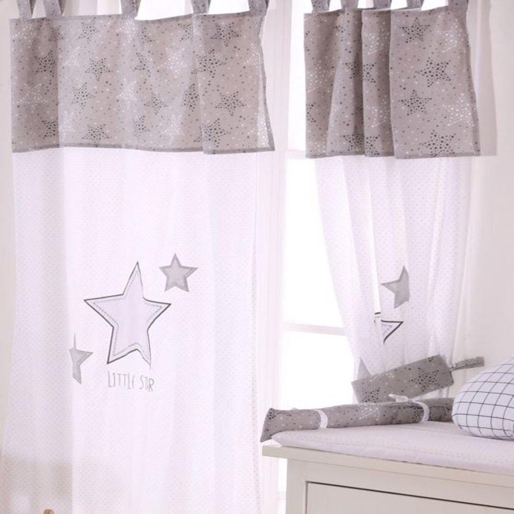 Grey Little Star Crib Bedding Accessory - Window Curtain