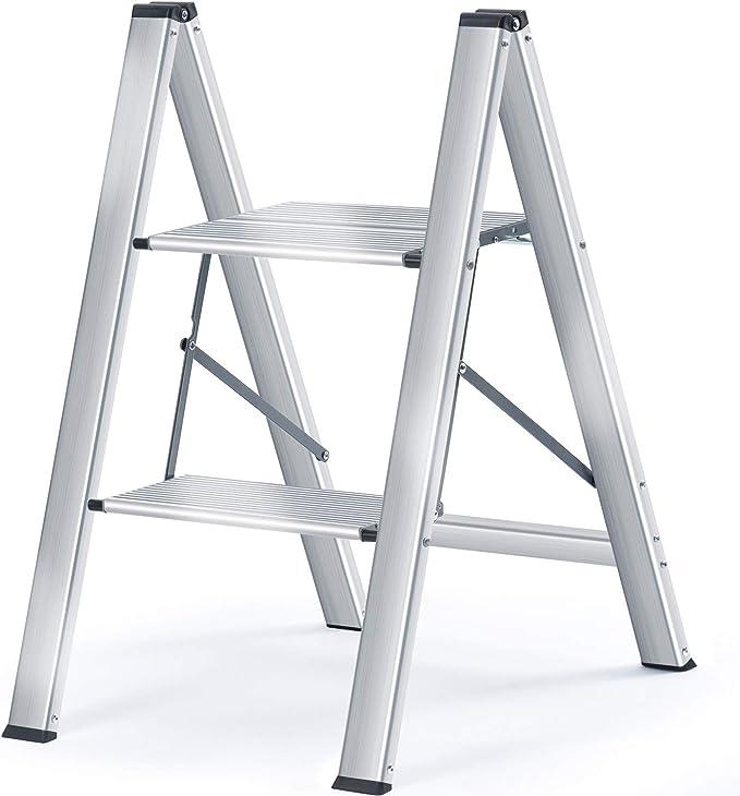 Kingrack Escalera,Escalera Plegable del Hogar,Escalera de aluminio,Taburete Plegable 2 Peldaños,Capacidad 150 Kg: Amazon.es: Hogar