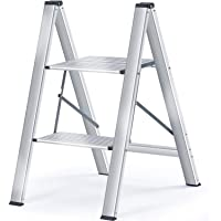 Kingrack Step Ladder, 2 Step Aluminium Folding Step Stool, Portable Ladder with Large Platform,Slim Household Stepladder…