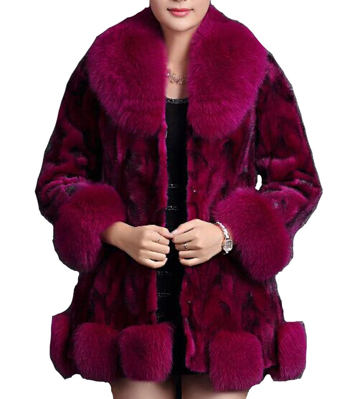 Helan Damen Luxus lang wirkliche Nerzmantel mit echten Fuchs Pelzkragen Fringe