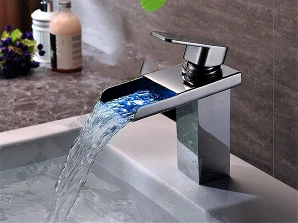 European-style retro basin faucet LED light faucet full copper hot and cold taps Creative self-luminous LED temperature change falls on the audience one-two-hole wash basin mixer SLT