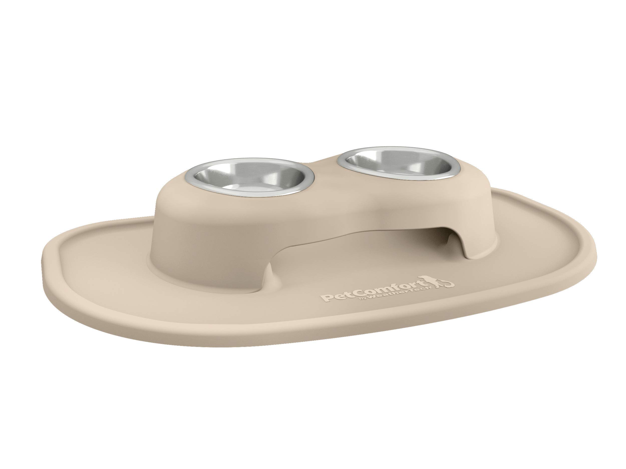 PetComfort Double High Feeding System with XL Mat (3'' Stand, Tan)