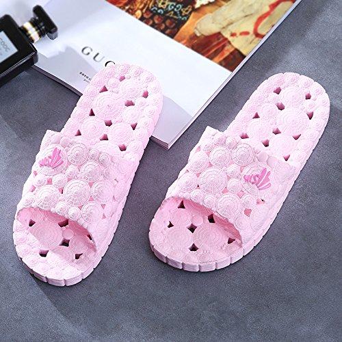 Y-Hui zapatillas de baño Dama, casa de verano Interior zapatillas, Parejas suave antideslizante, hogar de fuga inferior Cool zapatillas verano,40/41 (se recomienda un tamaño normal),violeta Pink