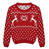 Arshiner Girl Christmas Snow and Cute Deer Elk Embroidered Knitted Pullover Sweater