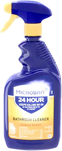 Amazon Com Microban 24 Hour Bathroom Cleaner And Sanitizing Spray Citrus Scent 32 Ounce Pack Of 4 Health Personal Care