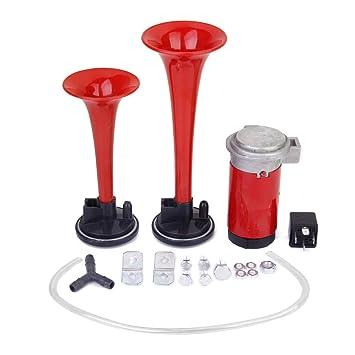 12v Compresor Trompeta Bocina De Aire Electricamente Para El Carro Del Coche Camion Rojo: Amazon.es: Coche y moto