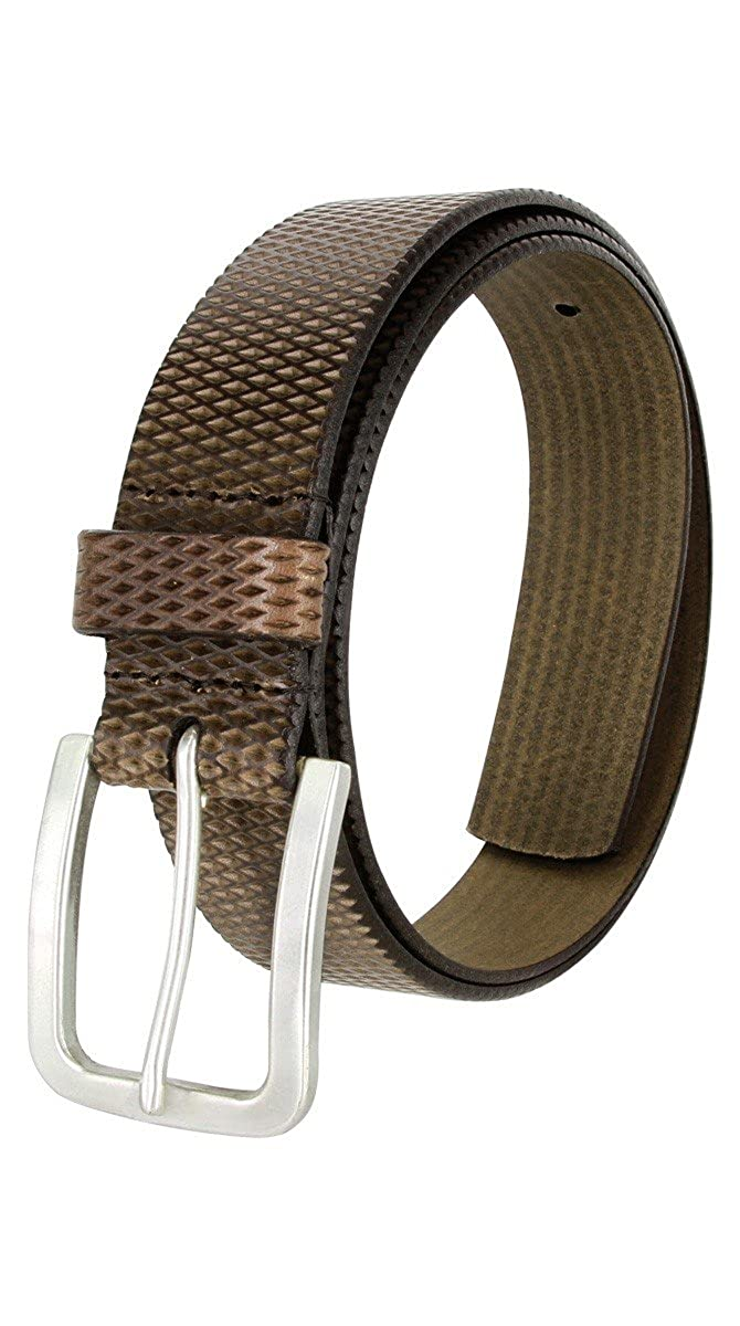 Wide LeJon Diamond Patterned Genuine Italian Saddle Leather Casual Belt 1-3//8 35mm