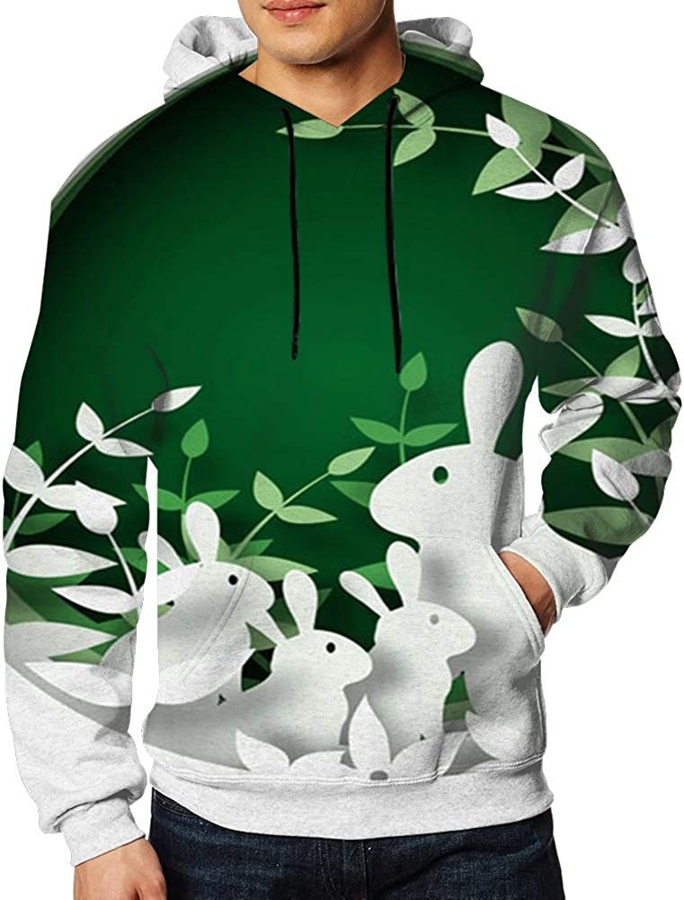 3 D Paper Cut Colorfuleaster Mens 3D Printed Pullover Long Sleeve Hooded Sweatshirts with Pockets