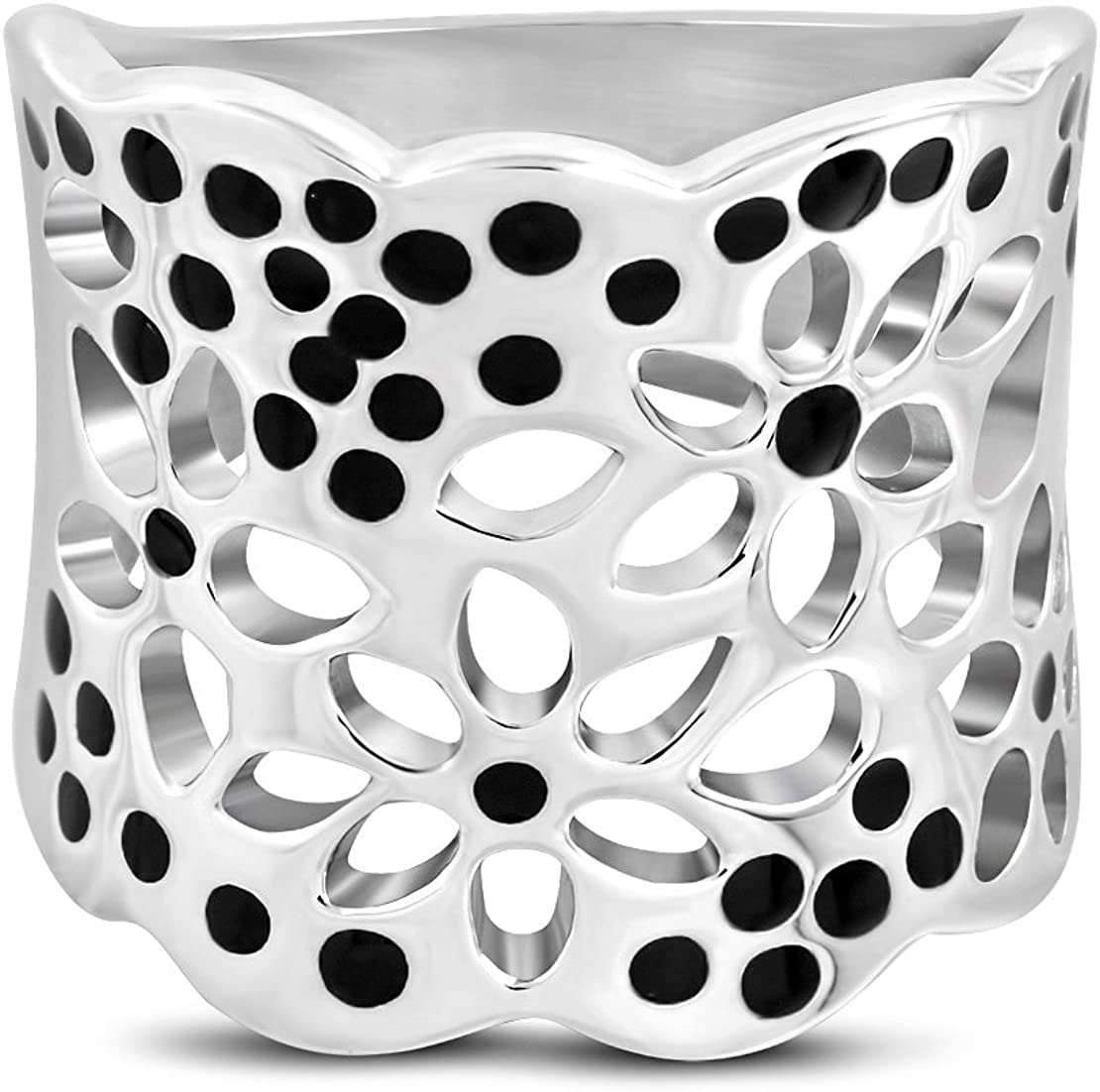 Stainless Steel 2 Color Cut-out Flower Concave Fancy Ring