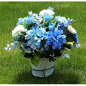 Blue Hydrangea Cemetery Flowers, Cemetery Arrangement with Blue Roses, Flowers For Cemetery 101