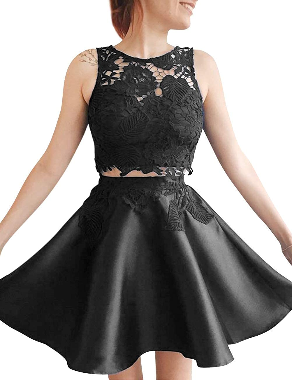 4e46489145a Lady Dress Women s Two Piece Lace Homecoming Dresses Short High Neck Satin Prom  Dresses A Line Appliques Party Gowns 2 ...