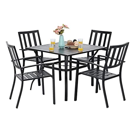 PHI VILLA 5 Piece Metal Patio Dining Set 37 Square Patio Bistro Table and Garden Backyard Chairs – Umbrella Hole 1.57