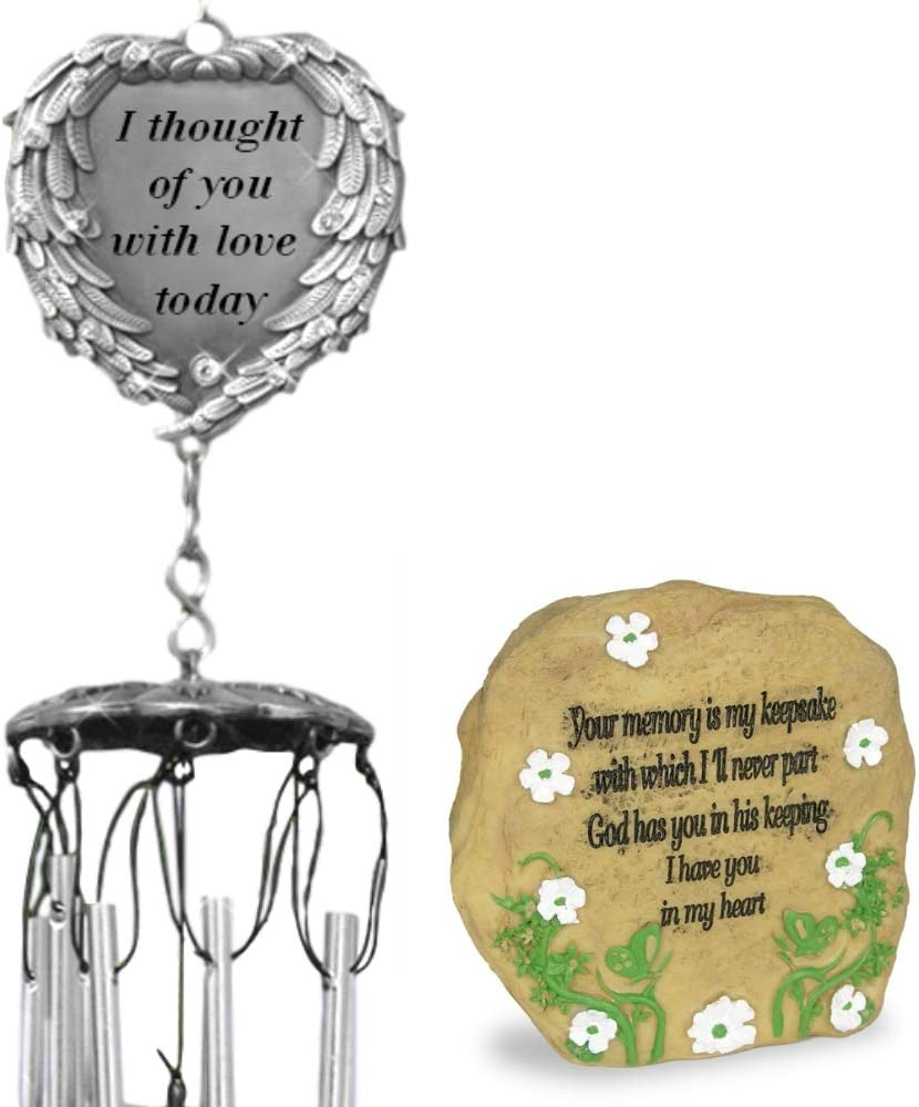 BANBERRY DESIGNS Memorial Wind Chimes with a Desktop Rock - I Thought of You with Love Today Poem - Garden Chimes and a Sympathy Memorial Gift - Loss of Loved Ones