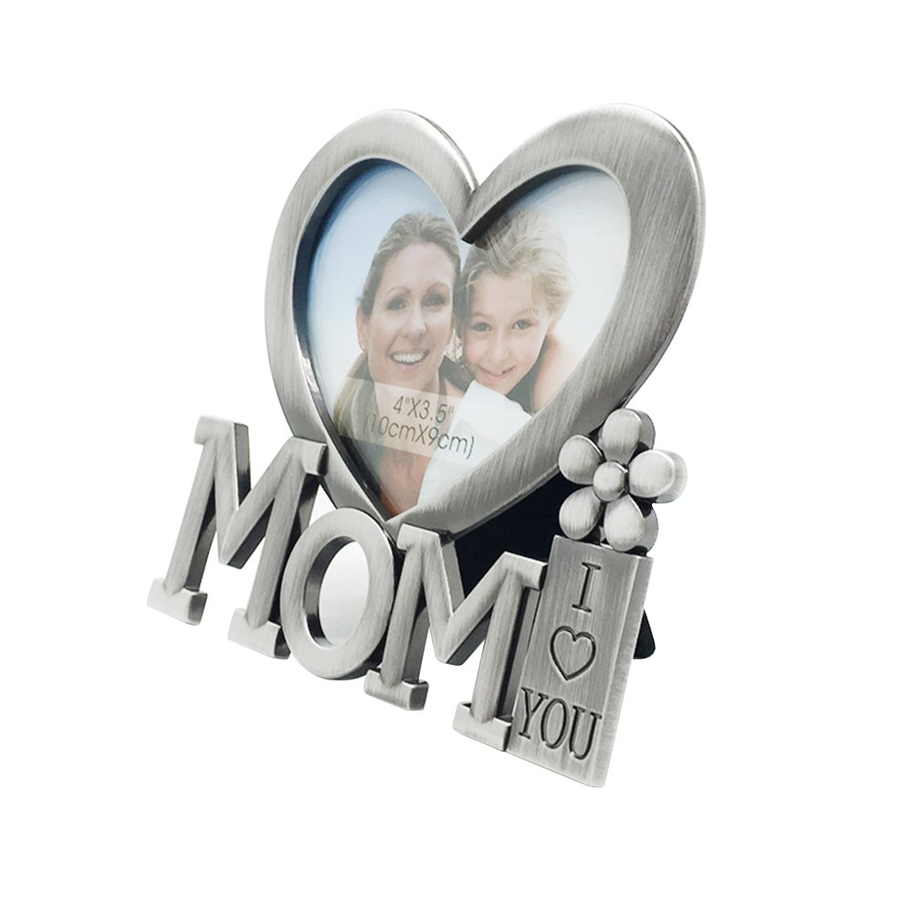 BESTOYARD I LOVE YOU MOM Picture Frame Mother's Day Heart Shape Metal Photo Frame Mother's Birthday Gift Desktop Decor