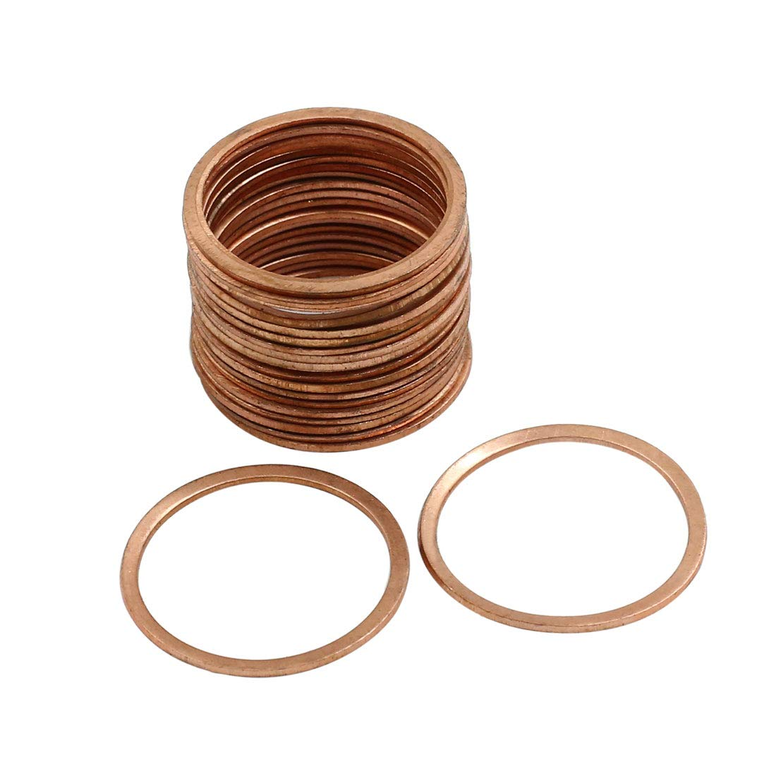 X AUTOHAUX 20pcs 26mm Inner Dia Copper Washers Flat Sealing Gaskets Ring for Car by X AUTOHAUX (Image #1)