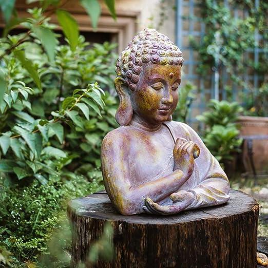 zenggp Buda Sakyamuni Cemento Meditativo Estatuas De Medio Cuerpo Jardín De Decoración Artículo: Amazon.es: Hogar