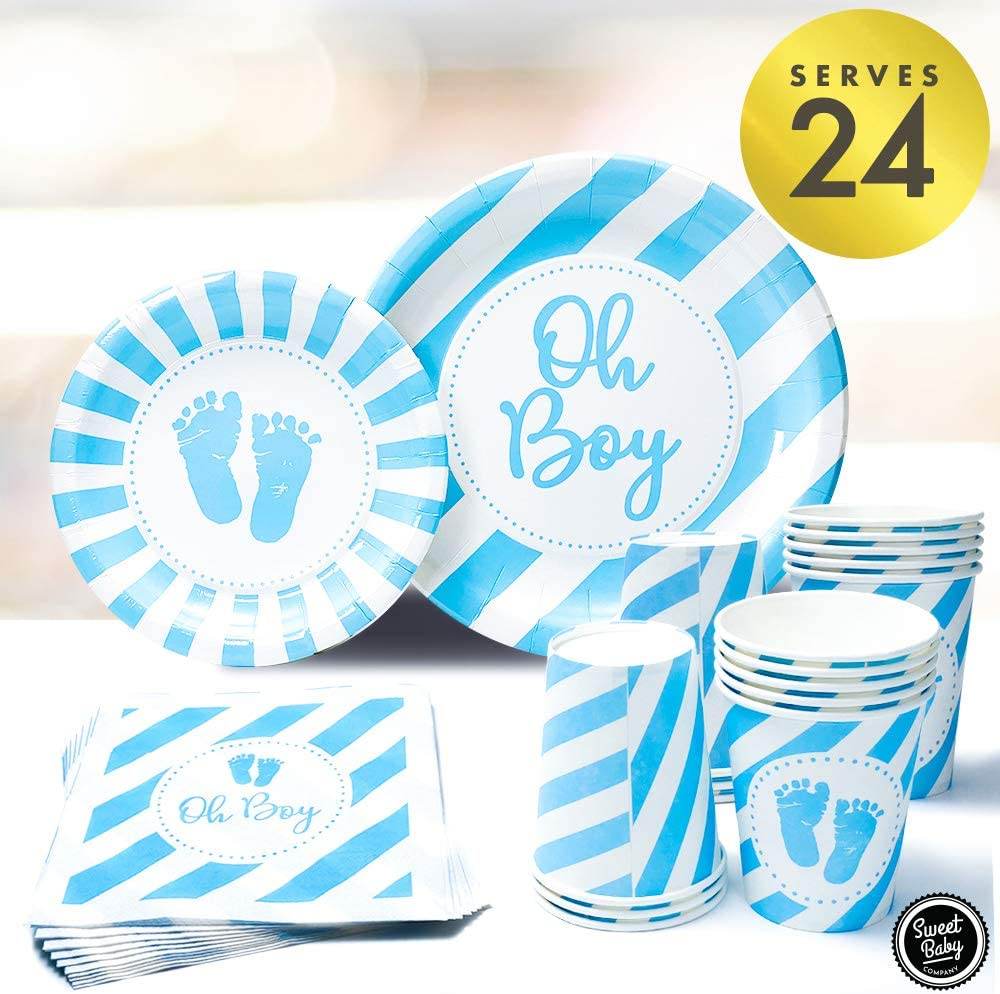 Sweet Baby Co. Baby Boy Shower Plates and Napkins Boy for 24 with Oh Boy Paper Plate, Napkin, Cups for Baby Boy Party Decorations, Birthday Tableware, Gender Reveal, Party Supplies (Light Blue, White)