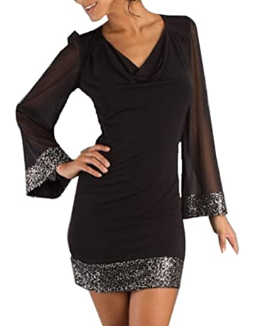 ccec178e10f7 Mlide Dress V-Neck Sequined Women Casual Long Sleeve Stitching Mini Dress  Ladies Long Sleeve