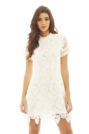 Amazon.com  AX Paris Women s High Neck Lace Dress  Clothing b4b60e804