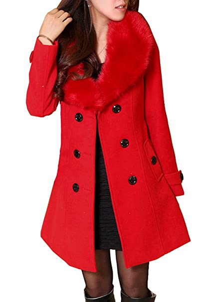 5 ALL Damen Frauen Wollmantel Pelzkragen Winter Elegant