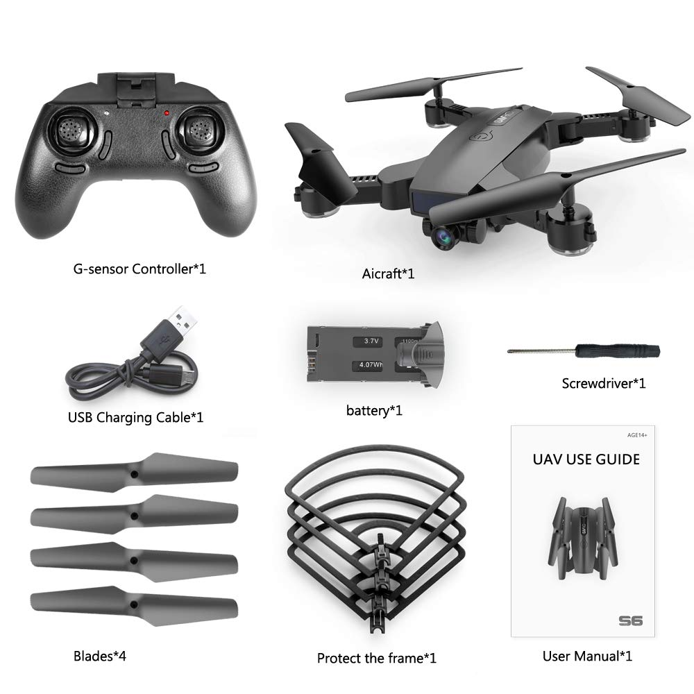 SGOTA RC Drone with Dual 720P HD 2mp Cameras Foldable FPV WiFi RC Quadcopter 2.4Ghz Remote Control Drone with Follow Me Mode (S6) by SGOTA (Image #8)