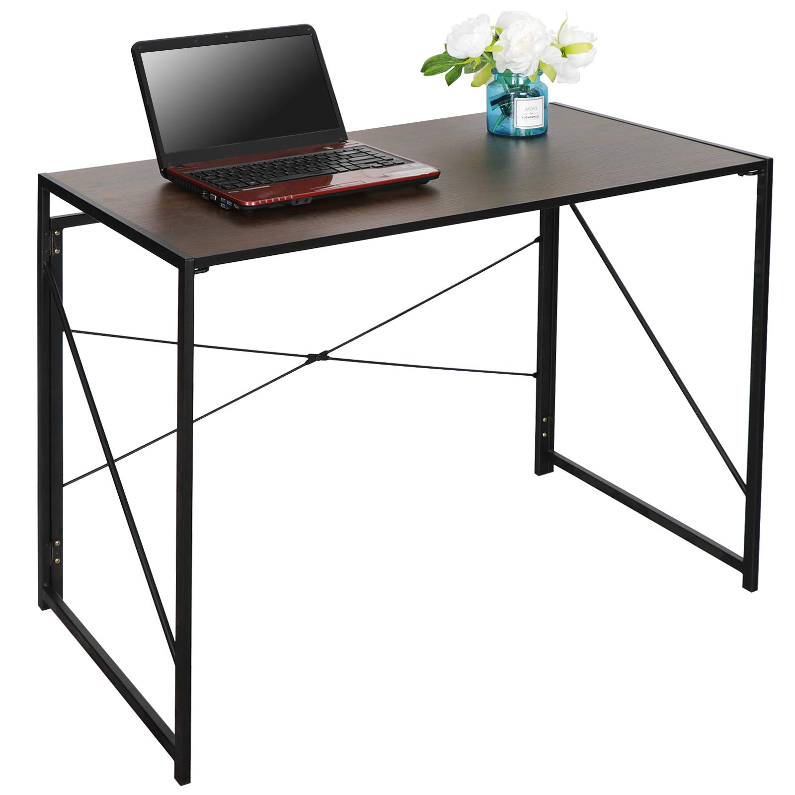 SUPER DEAL Modern Folding Computer Writing Desk Home Office Study Desk, Multipurpose Laptop Table Computer Workstation - Widen Steel Frame - Fully Folded - Waterproof and No Deformation